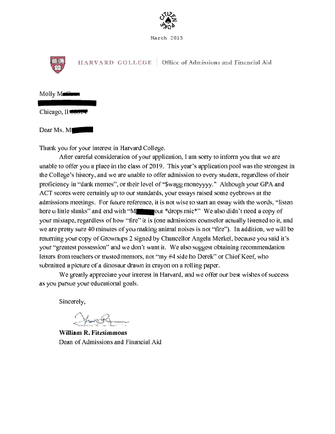 Best college admission essay for harvard