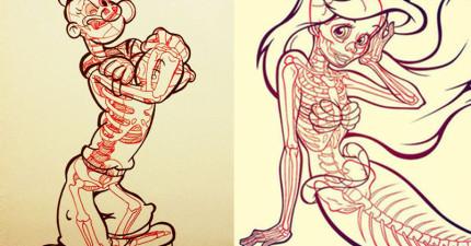 這位藝術家用畫筆幫16個知名的動漫卡通人物「照X光」!