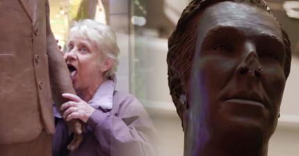 他們擺了一個1:1大小的「巧克力班奈狄克」在商場中,民眾HOLD不住過強魅力連舌頭都伸出來了...!