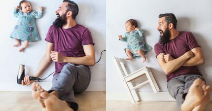 這些絕對不是PS的!調皮老爸利用小技巧跟1月大小寶寶拍出最「危險」的可愛照片。