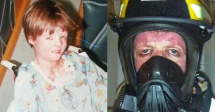 兒時火災意外讓他全身70%灼傷,但他不讓恐懼支配人生奮力成為救火英雄!
