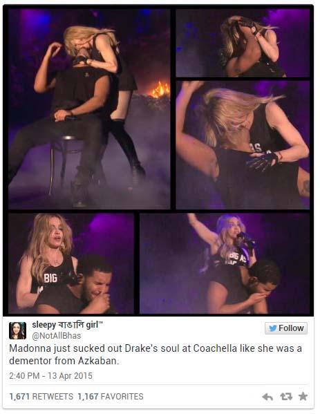 歌手德瑞克在台上被瑪丹娜大姊猛然強吻,結果他的表情怎麼看起來快吐了?!