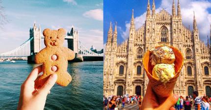 這位女孩在世界各地旅遊時,每到一個地方就會拍下讓人又餓又嫉妒的照片!