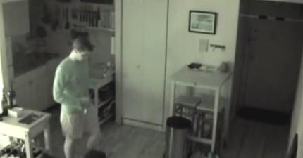 家中食物一直憑空消失於是男子決定裝監視器,拍到的畫面把他給嚇死了!