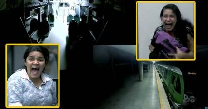 搭捷運時燈光突然開始閃爍,結果眼前卻馬上出現了令她們尖叫的恐怖女鬼...!