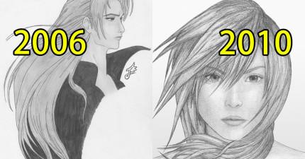 這個人練習畫畫10年每一年都會上傳一個作品,而到第10年的時候...我太感動了!