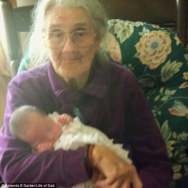 Jennifer Browder Goodman from South Carolina submitted this image of her grandmother holding her daughter for the first time 'She will be 95 in August!' she wrote