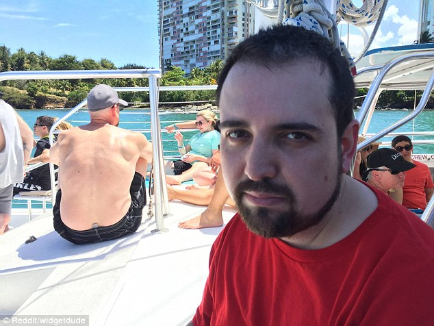 After posting the photos he wrote that he won a free trip to Puerto Rico but his wife was unable to join him