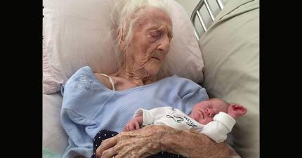 網路瘋傳的這張101歲的老奶奶抱著曾孫女的照片,背後有一個可以拍成「好萊塢大片」的故事!