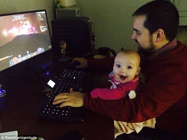 This photo, showing Kevin  playing Diablo III with his daughter, went viral after it was shared on Reddit