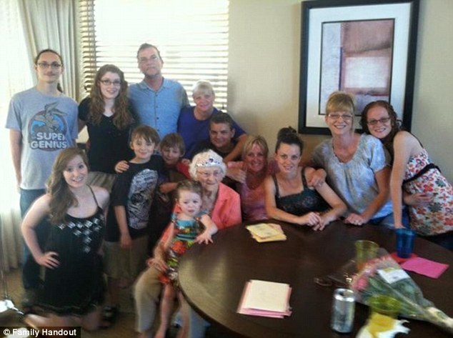 Rosa is pictured on her 98th birthday three years ago, surrounded by her children, grandchildren and great-grandchildren