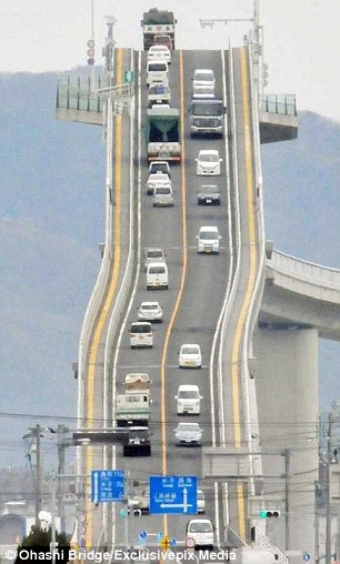 The concrete road bridge, pictured, spans a mile across Lake Nakaumi, linking the cities of Matsue and Sakaiminato