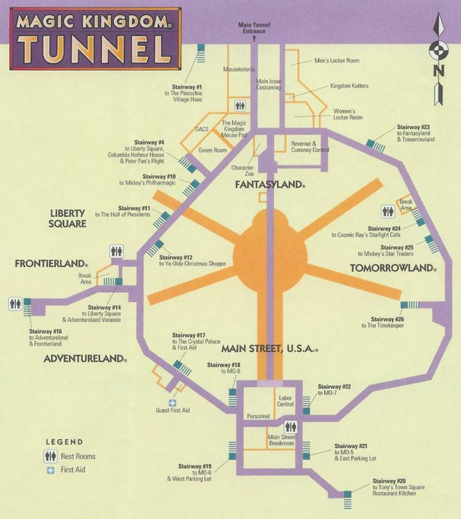 Under the Magic Kingdom there is a secret tunnel system used by cast members and other employees to navigate the park unnoticed.