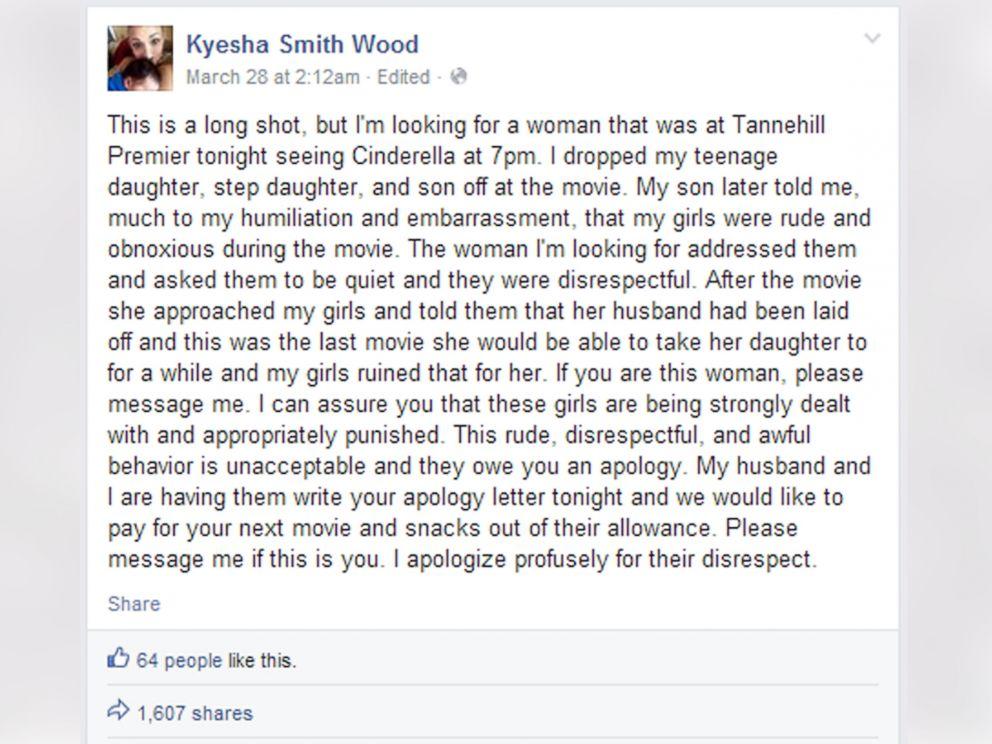 她的孩子在電影院吵鬧不尊重人,因此她寫了這則感人的FB短文想要找到對方彌補過錯。