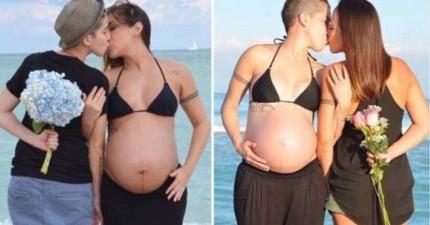 兩位女同志伴侶輪流懷孕的甜蜜照片,見證多元家庭的真愛。