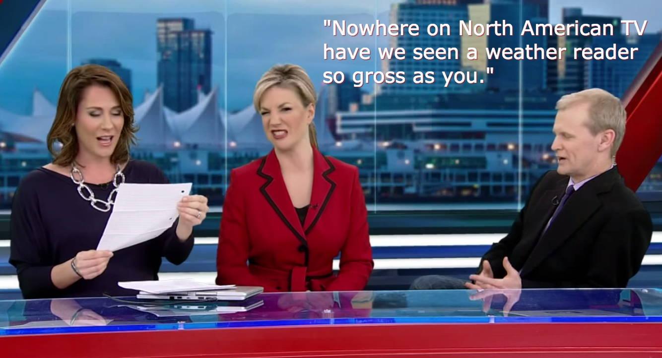 在信中,來信者表示「在北美電視台沒看過氣象播報員像妳這麼噁心的」,接著又連番攻擊她懷孕時的身材如何又如何。