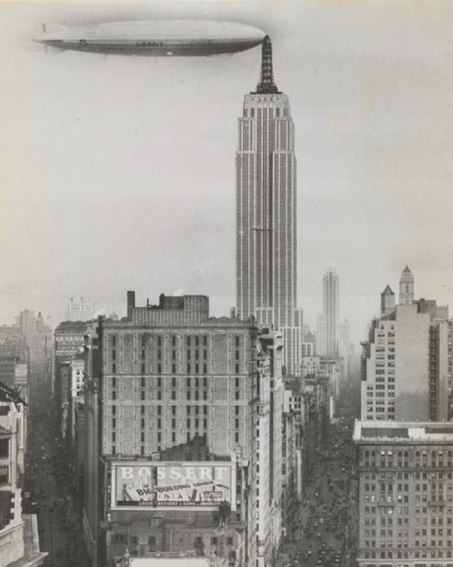 <i>Dirigible docked on Empire State Building, New York</i>, 1930