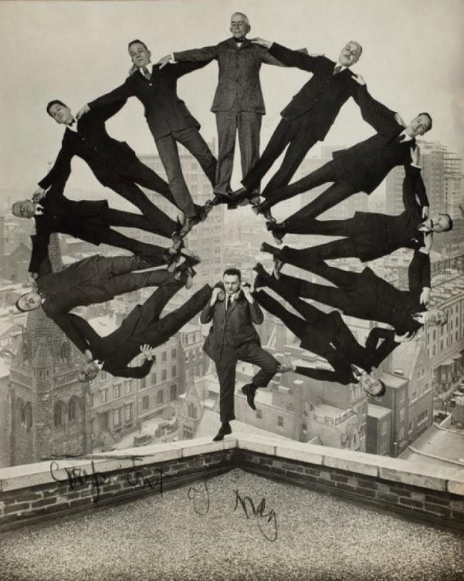 A crazy balancing act, ca. 1930