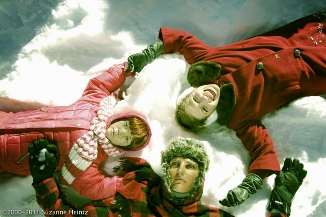 A trio of snow angels.
