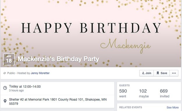 Within hours the post went viral, local news outlets were on the phone, and Mackenzie suddenly had hundreds of people wanting to come to her birthday bash.