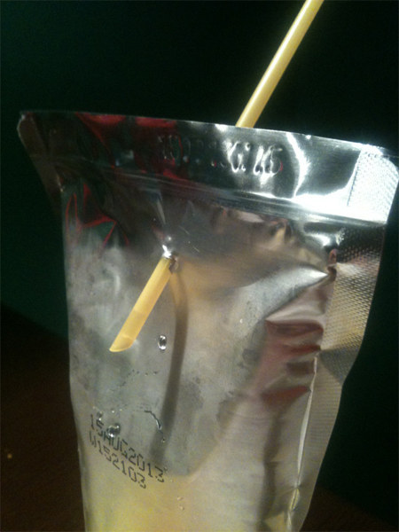 Having this disaster happen when trying to put your straw into your Capri Sun.