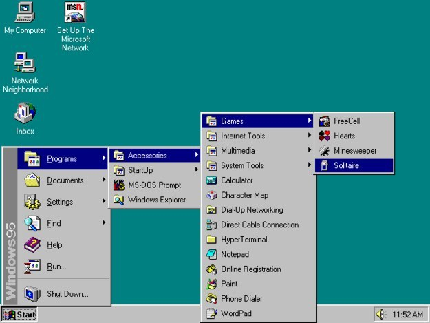 Having to open about 200 folders just to get to the games on Windows 95.