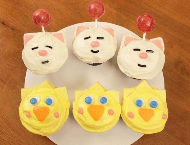 Final Fantasy Moogle and Chocobo Cupcakes