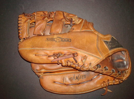 Only one gross lefty glove in gym class.