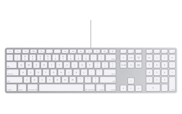 Number pad is on the right-hand side of keyboard.