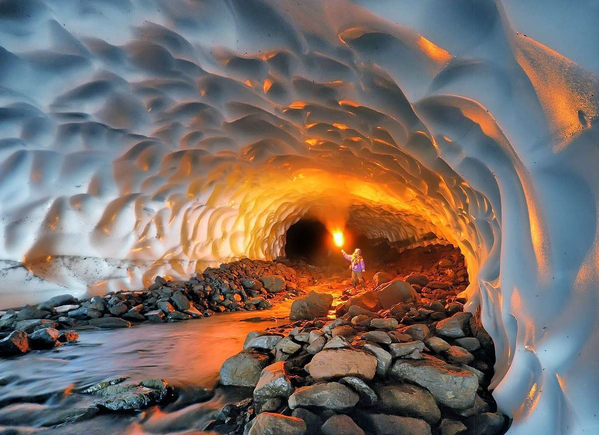 An ice cave made by a volcano.