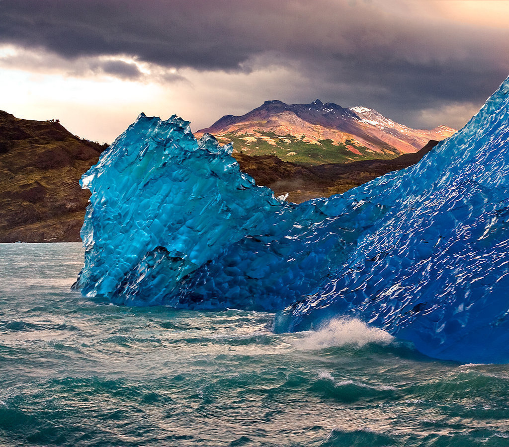 Blue ice, a naturally phenomena that occurs when glaciers are compressed.