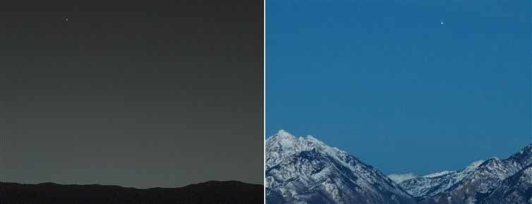 The view from Mars to Earth, and from Earth to Mars.