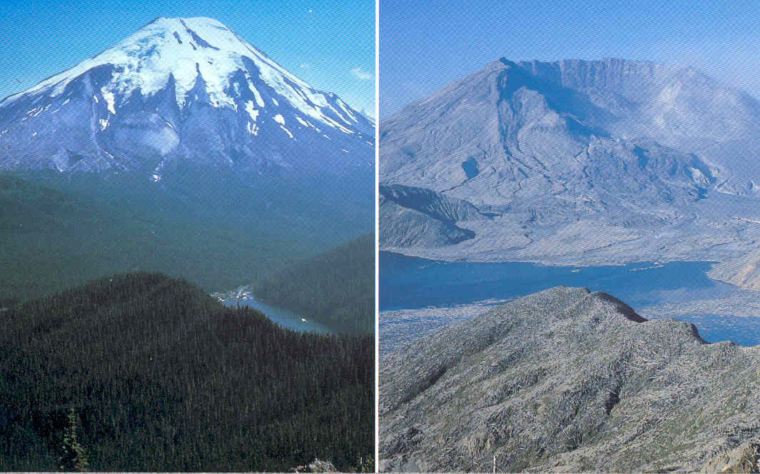 Mt. St. Helens, shot before and after an eruption.