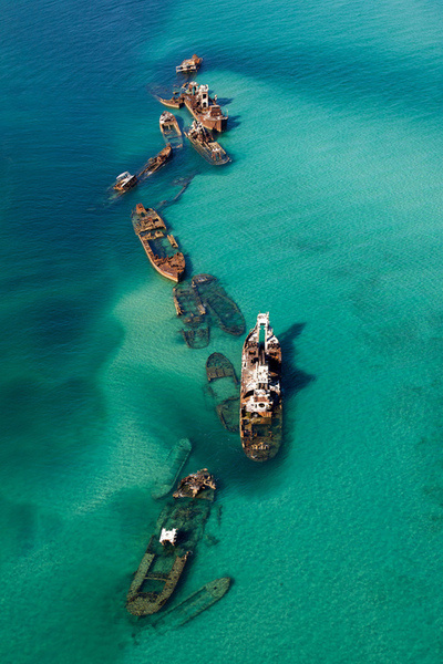 A sand bar near the Bermuda Triangle, including the destruction of 16 ships.