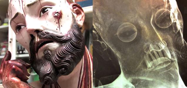 這個古老淌血的耶穌雕像裡,透過X光竟發現到...