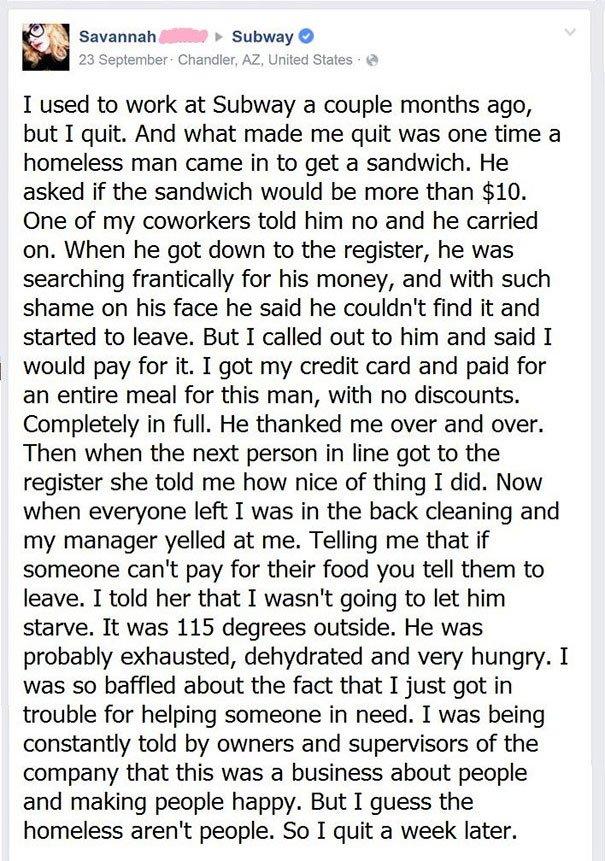 這個Subway員工被老闆罵之後就辭職了,但數萬名網友聽到故事真相後就超支持!