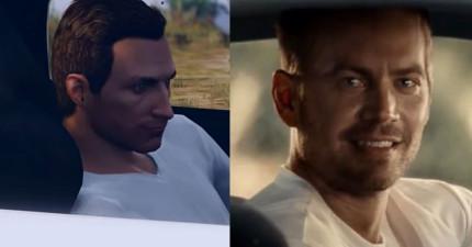 為了紀念保羅沃克,這個男生用電玩《俠盜獵車手5》重現《玩命關頭7》感人的最後一幕。
