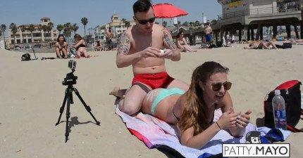 這個男生在海灘找一些超HOT的女生,然後在她們的身上煎蛋。