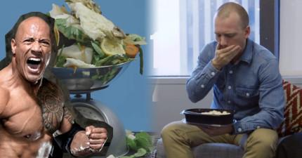 這個普通男子挑戰「巨石強森」每天7餐5公斤瘋狂食物清單,結果...這不是凡人可駕馭的!