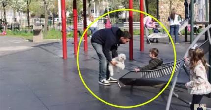 這個男人帶狗狗來公園,幾秒就證明要拐騙小孩太容易了!