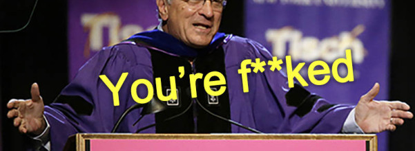 Actor Robert De Niro addresses the class of 2015, faculty, and guests during  New York University's Tisch School of the Arts commencement  ceremony,  Friday, May 22, 2015, in New York. De Niro, who quit high school to pursue an acting career, was the honored speaker at the raucous ceremony for 1,200 graduates at The Theater at Madison Square Garden. (AP Photo/Mary Altaffer)