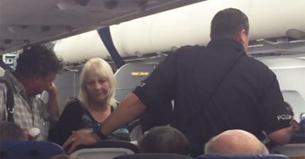 乘客目擊拍下班機緊急降落、警察登機驅離畫面,才知道超扯起因是...一名15歲的自閉兒。
