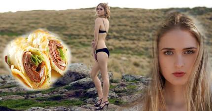這位紐西蘭模特兒說「我要開動了」,但她卻拿出一條2.2公斤重的巨無霸墨西哥捲餅?