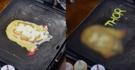 當他把左邊那個煎餅翻到另一面看到真面目時,每個《復仇者聯盟》迷都會大聲尖叫出來!