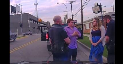這對情侶第一次約會遇到警察臨檢而2年後同天又被警察攔下,結果警察從男友口袋裡搜出一枚戒指...