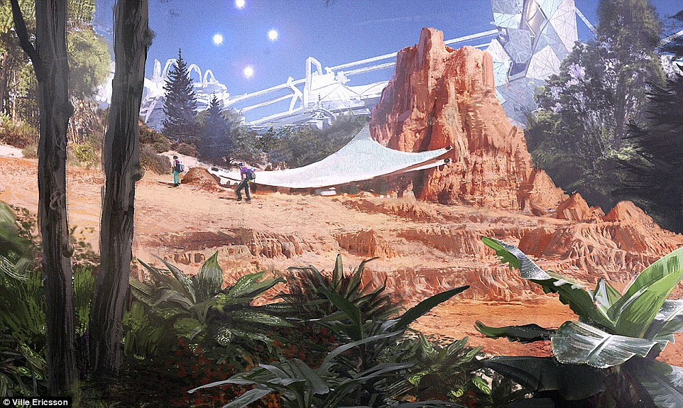 Scientific studies have shown that growing crops in Martian soil shouldn't be a problem. In the drawings it is suggested that, inside a large dome, vegetation could take hold to partially terraform the surface