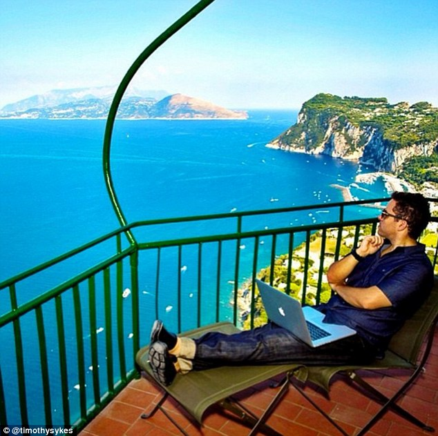 An office with a view Sykes said he could make more money in a regular office but prefers to travel the world