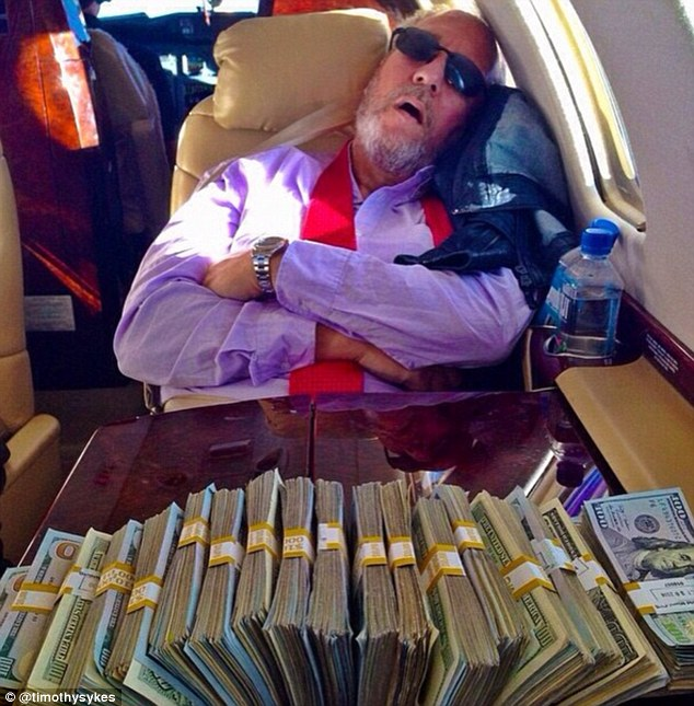 Skyes posted this picture explaining that his dad had fallen asleep on board his private jet because he had become tired of watching him counting money