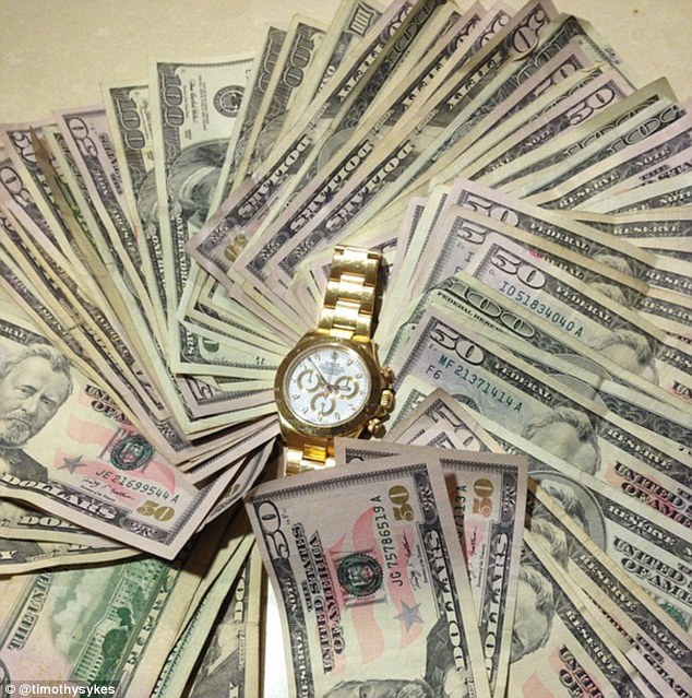 Loads of money Sykes posts pictures of wads of cash and designer watches on his instagram account