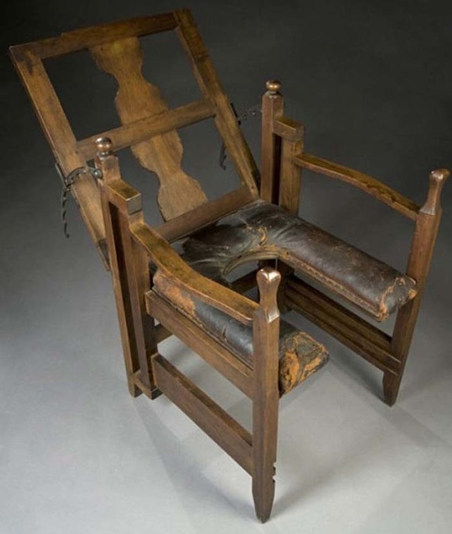 """This is what they used to call a """"birthing chair."""" Can you guess what it was used for?"""